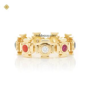 Nhẫn vàng đính đá quý thiết kế kiểu cánh cổng của sự thành công