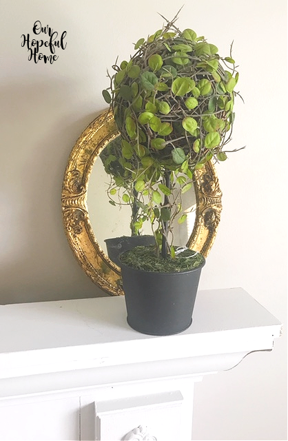 vintage gilded oval mirror mantel topiary