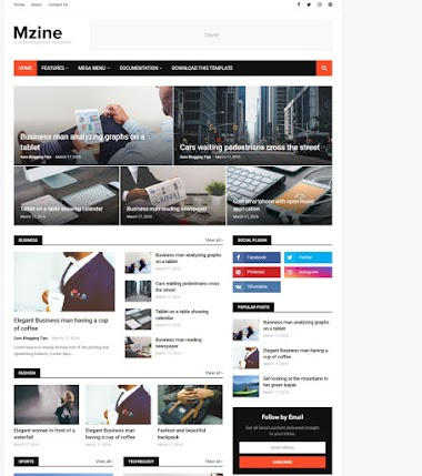 Mzine Blogger Template Free Blogger Template  Without Copyright footer Credit