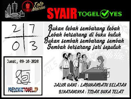 Syair Togel Yes Macau Jumat 09 Oktober 2020