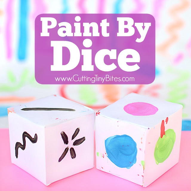 Paint By Dice- process art painting activity for toddlers, preschoolers, kindergarten, or elementary kids! Open-ended art at its finest!