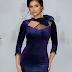 Rochie midi de ocazii din catifea bleumarin de lux eleganta