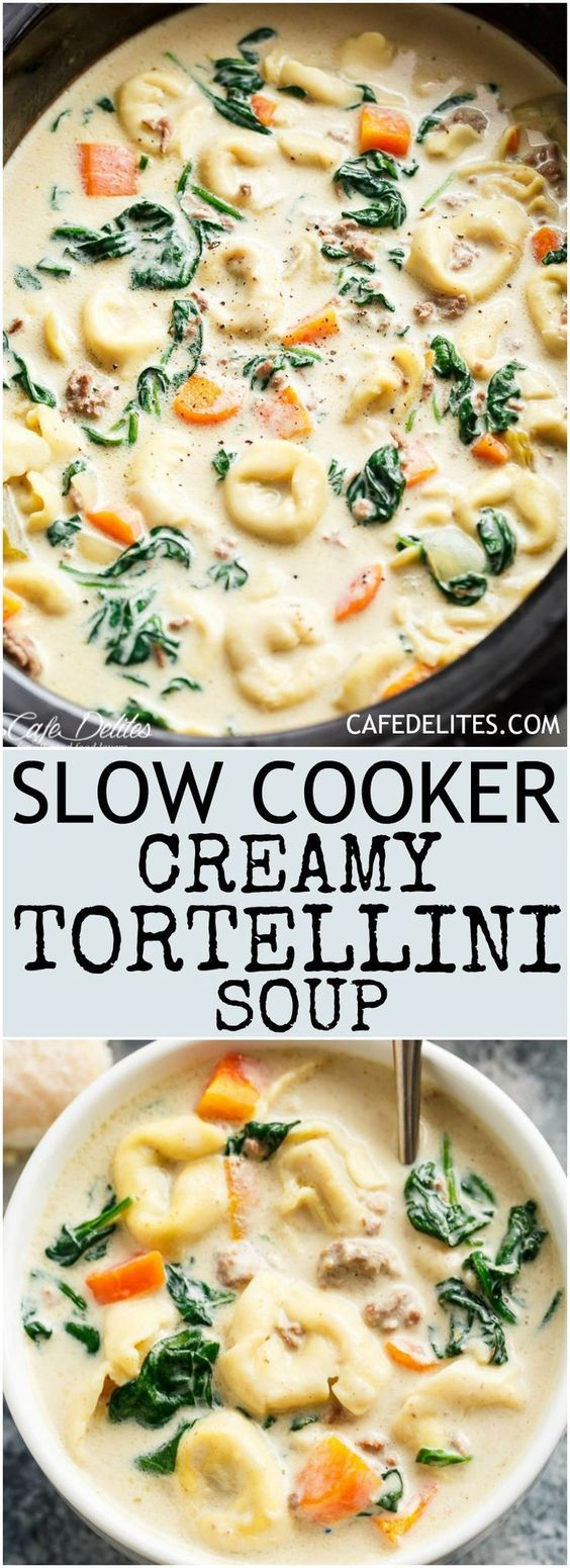 Easy and Delicious Slow Cooker Creamy Tortellini Soup
