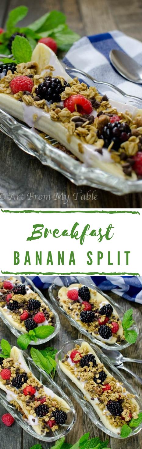 BREAKFAST BANANA SPLIT #dessert  #banana #breakfast #oatmeal #diet