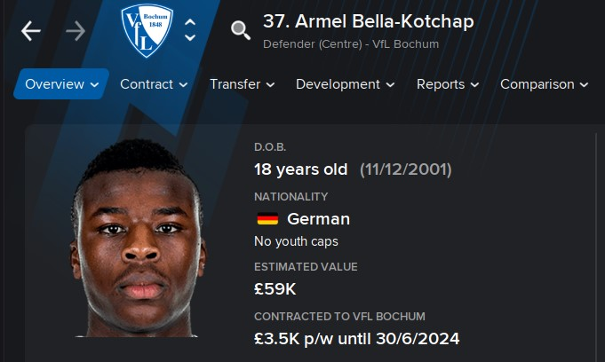 Armel Bella-Kotchap FM21 Football Manager 2021 Wonderkid