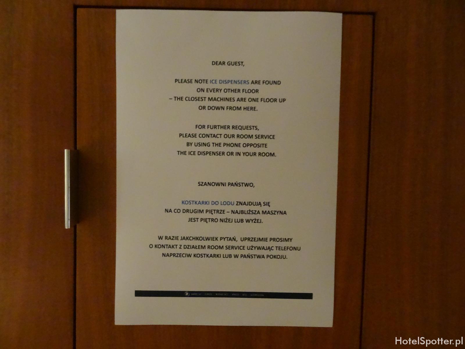 Hilton Warsaw Hotel - kostkarka do lodu