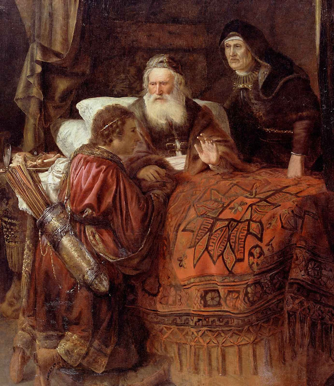 Isaac abençoa Jacó a instâncias de Rebeca. Gerrit Willemsz Horst, (1612–1652),  Dulwich Picture Gallery, Londres.