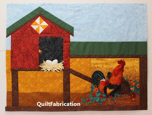 full chicken coop quilt center by QuiltFabrication