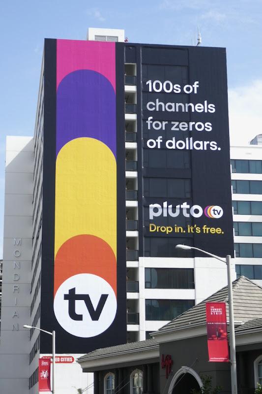 PlutoTV 100s channels for zeros dollars billboard