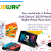 Subway Nintendo Switch Prize Pack Giveaway - 100 Winners Each Win a Nintendo Switch Game Console, Just Dance Game and $50 Subway Gift Card. Daily Entry. Ends 11/29/18