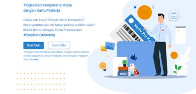tampilan website pendaftaran program kartu prakerja