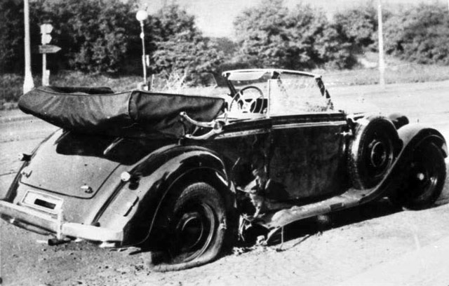 Reinhard Heydrich death car 27 May 1942 worldwartwo.filminspector.com