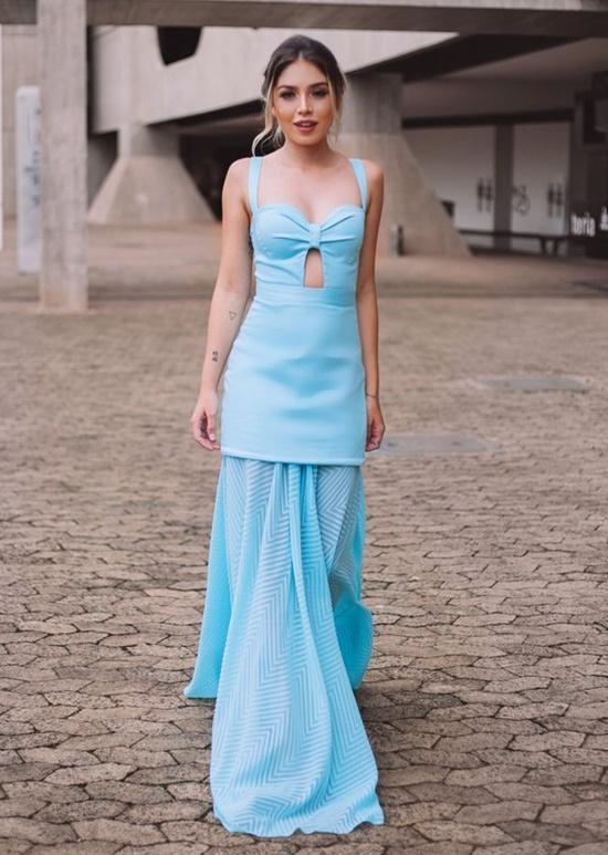 vestido de festa azul turquesa