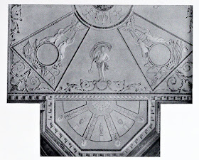 Part of ceiling in the Library, Hatchlands  from The architecture of Robert and James Adam by AT Bolton (1922)  Note the empty roundels which have since been filled.
