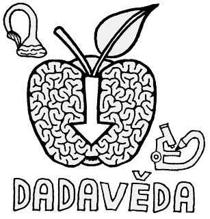 Možný symbol dadavědy či obecněji epistemologického anarchismu: mozek tvaru Newtonova padajícího jablka (s šipkou dolů uprostřed)