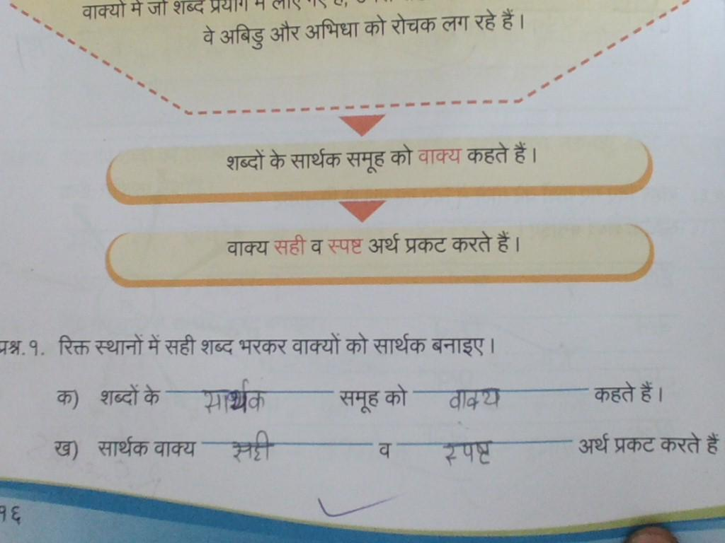 Class 4th Hindi Grammar Worksheet Vakya Standard 4
