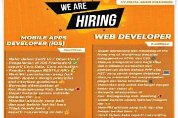 Lowongan Kerja iOS Developer & Web Developer CV Pelita Abadi Solusindo
