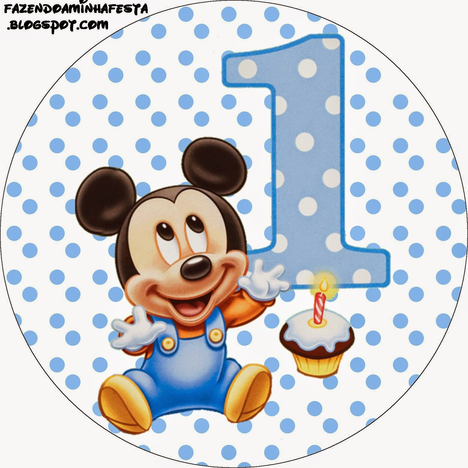 Toppers or Free Printable Candy Bar Labels for a First Year of Mickey with Polka Dots.