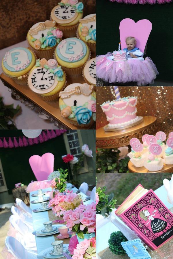 Alice in Wonderland girl 1st birthday party theme.