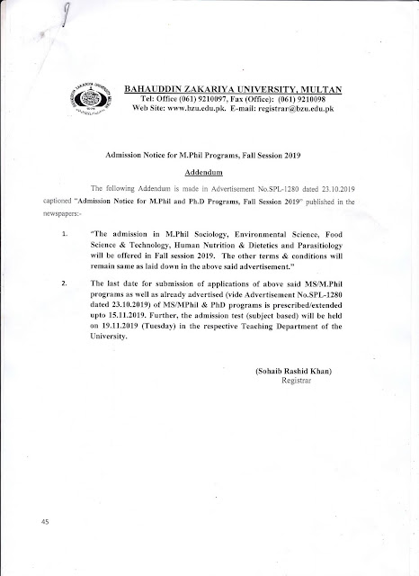 BZU Addendum Admission Notice For M. phil and PhD Programs Fall Session 2019-20