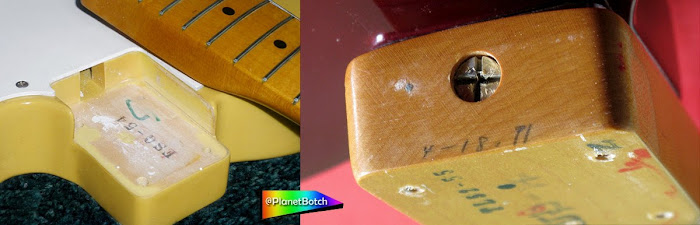 Fender MIJ Esquire and Telecaster with Japanese model codes in neck pocket area