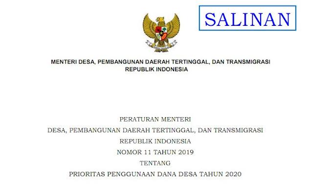 Peraturan Menteri PDTT Nomor 11 Tahun 2019 Tentang Prioritas Penggunaan Dana Desa Tahun 2020