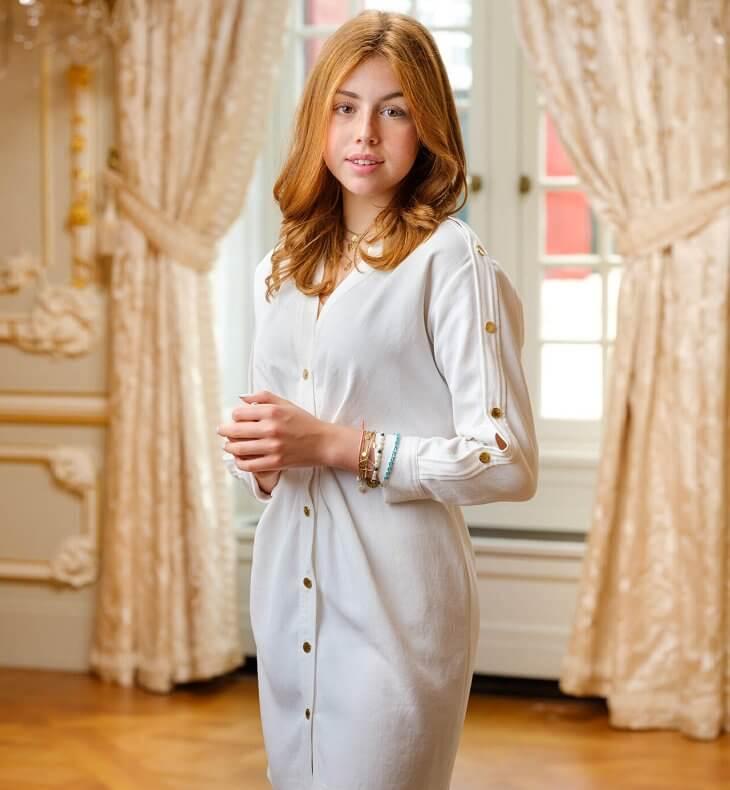 Princess Alexia wore a buttoned v-neck straight dress from Sandro