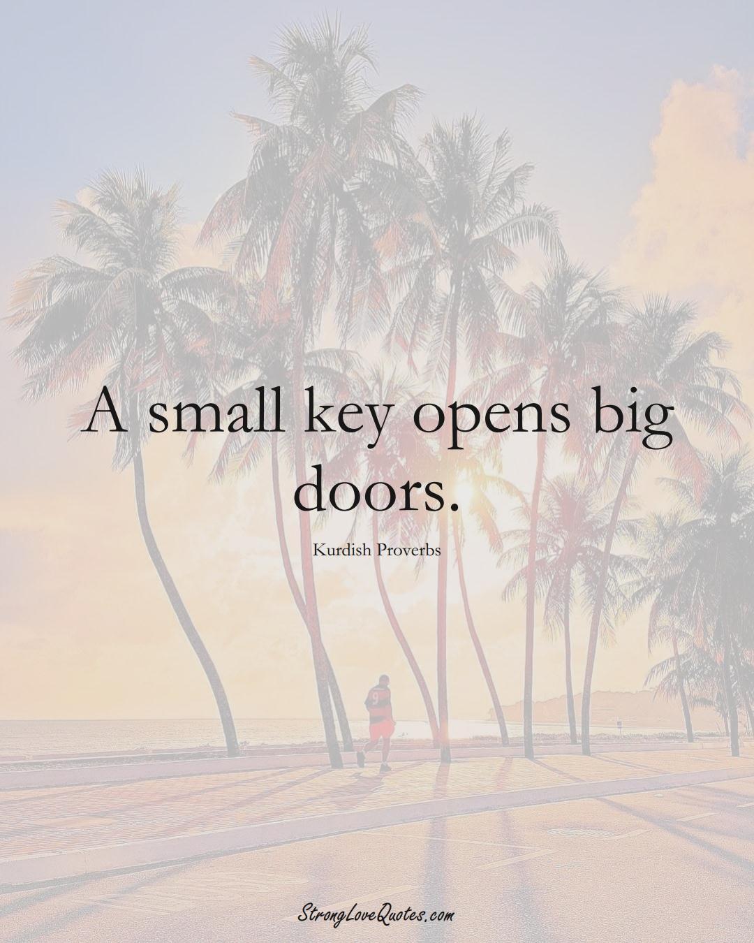 A small key opens big doors. (Kurdish Sayings);  #aVarietyofCulturesSayings