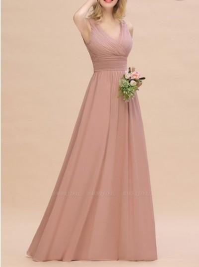 Elegant V-Neck Ruffles Bridesmaid Dress– Price: US$ 99.00