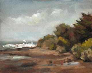 Landscape oil painting of coastal vegetation with splashing waves and rock pools.