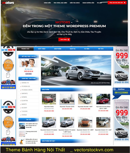 Download theme mã nguồn bán xe ô tô cực đẹp.