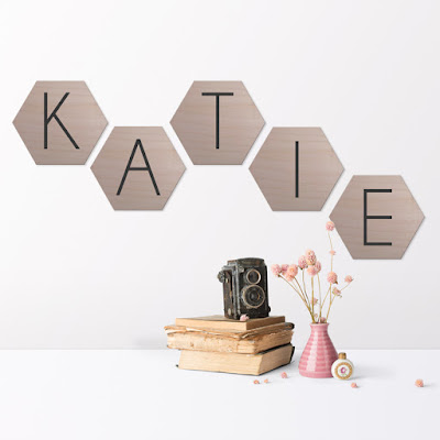 Personalised Hexagon Wooden Wall Plaques, range of colours