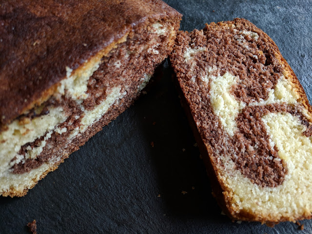 marbled chocolate vanilla loaf cake