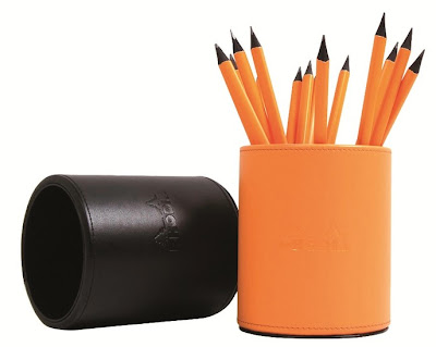 orange and black pencil cups from Rhodia