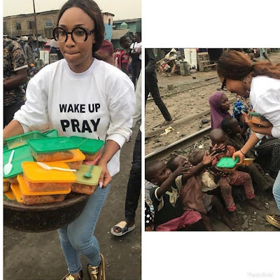 Tonto Dikeh Feeds The Less Privileged, Eats With Them On The Street (Photos)