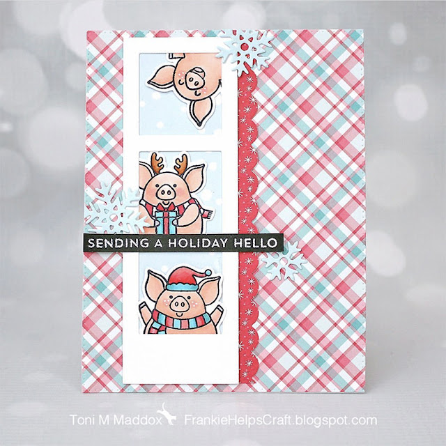 Sunny Studio Stamps: Hogs & Kisses Customer Christmas Card by Toni Maddox