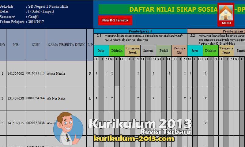 Download Format Penilaian Kurikulum 2013 Revisi 2016 SD Lengkap Pemetaan KD