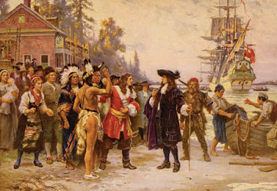 The Landing of William Penn, by Jean Leon Gerome Ferris (1863-1930), depicting Penn's arrival at New Castle.