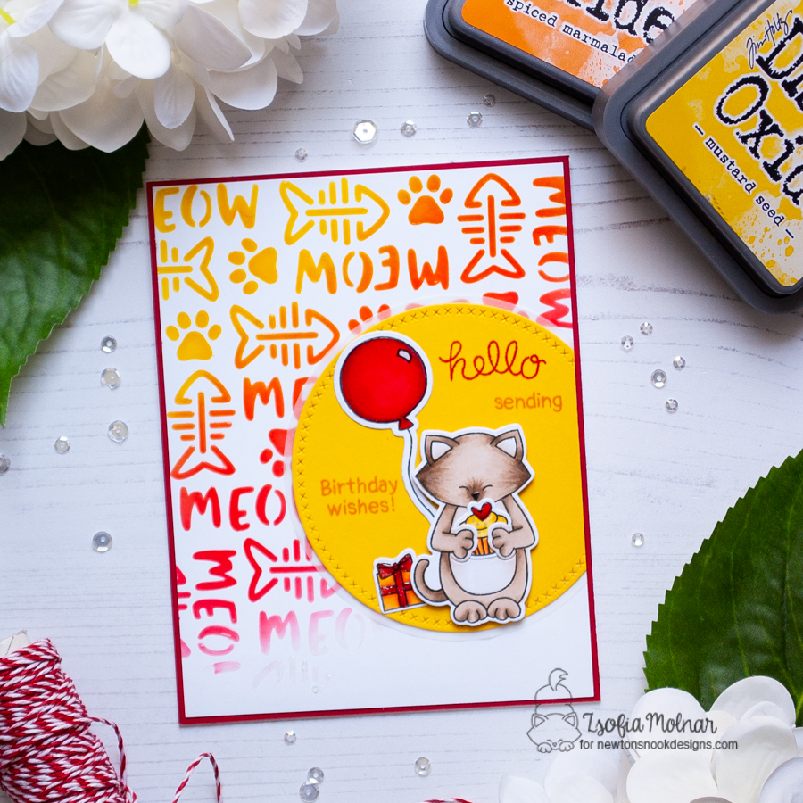 Happy Birthday Cat Card by Zsofia Molnar | Sending Hugs Stamp Set and Meow Stencil by Newton's Nook Designs #newtonsnook #handmade