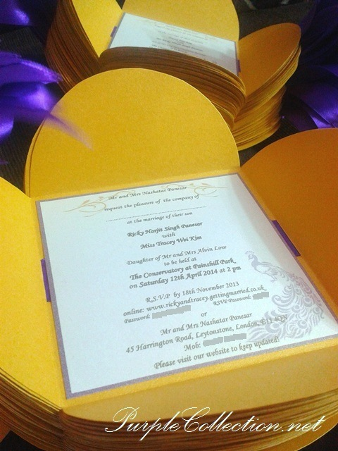 Petal Fold Wedding Card, Pearl Gold Card, Purple Ribbon