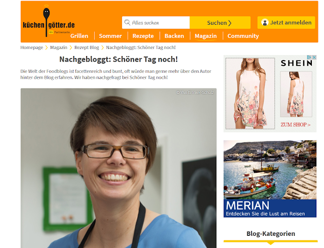 """Screenshot küchengötter.de Interview mit """"Schöner Tag noch!"""""""