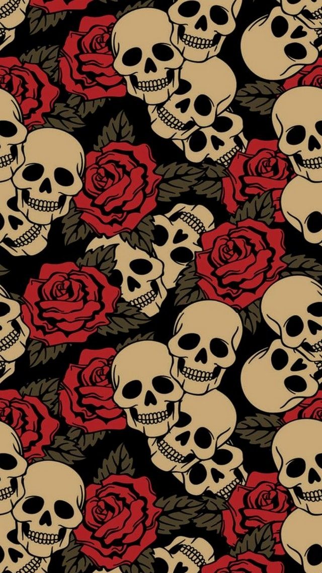 Wallpaper Horror, teschi, rose,