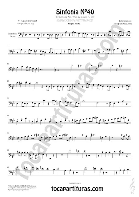 1 Symphony Nº 40 Sheet Music for Trombone and Euphonium Music Scores Bass Clef 8ª PDF and MIDI here
