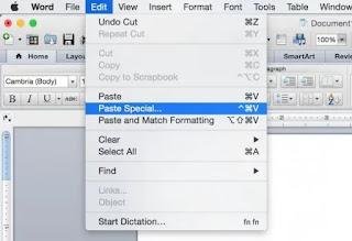 اختيار paste special  في برنامج مايكروسوفت وورد في ماك أو إس إكس