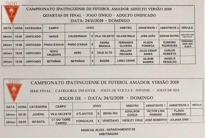 Os jogos e a arbitragem do final de semana do Campeonato Ipatinguense: Unificado e Infantil