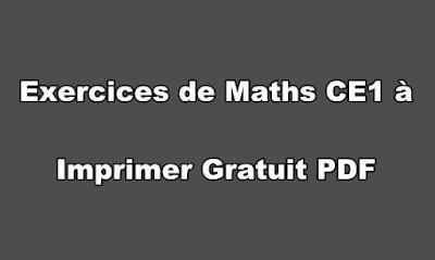 Exercices de Maths CE1 à Imprimer Gratuit PDF