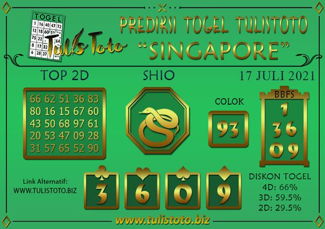 Prediksi Togel SINGAPORE TULISTOTO 17 JULI 2021