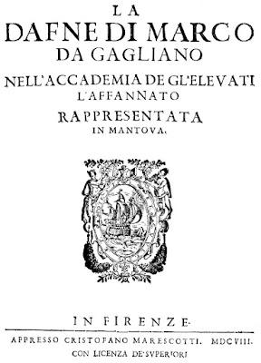 Marco da Gagliano - La Dafne - title page, 1608