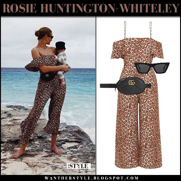 Rosie Huntington-Whiteley with her son in leopard print jumpsuit zimmermann beach summer style february 2018