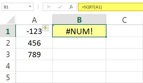Contoh Pesan Error #NUM pada Excel